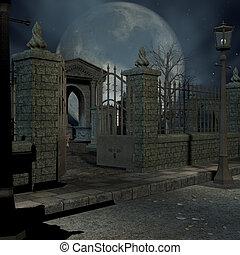mystisk, kyrkogård