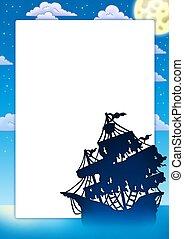 mystisk, ram, silhuett, skepp