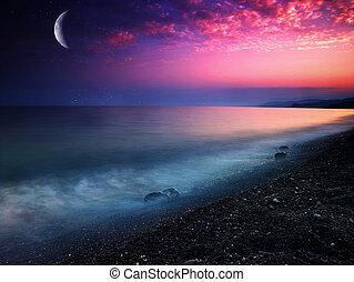 mystiskt, naturlig, abstrakt, bakgrunder, sea.