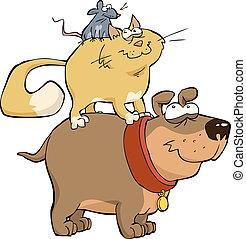 mysz, pies, kot