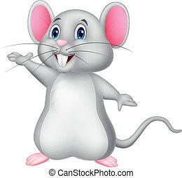 mysz, rysunek, sprytny, falować