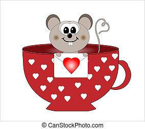 mysz, zakochany, wektor