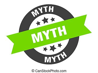 myth sign. round isolated sticker. ribbon tag