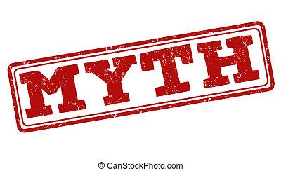 Myth grunge rubber stamp on white, vector illustration