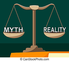 Myth Vs Reality Balance Demonstrating Authenticity Versus False Facts - 3d Illustration