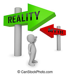 Myth Vs Reality Character Demonstrating Authenticity Versus ...