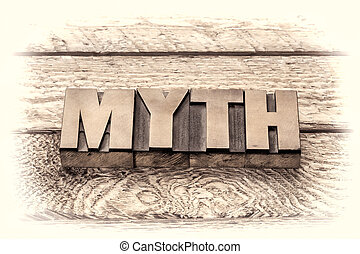 myth word in vintage letterpress wood type