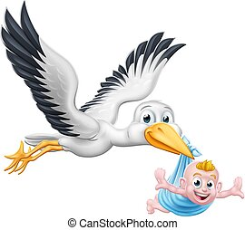 mythe, dessin animé, cigogne, grossesse, bébé, nouveau, oiseau