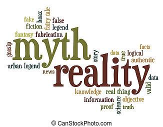 mythe, en, realiteit, woord, wolk