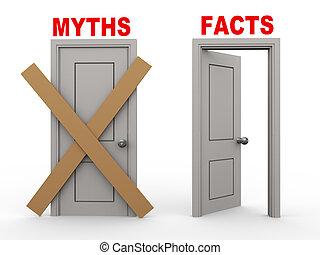 mythe, feit, deuren, 3d