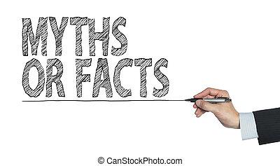 mythe, feit, geschreven, door, hand