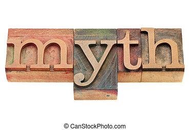 mythe, in, letterpress, type