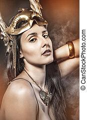mythe, koningin, jonge, met, gouden, masker, oud, godin