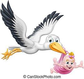 mythe, oiseau, cigogne, grossesse, bébé, dessin animé