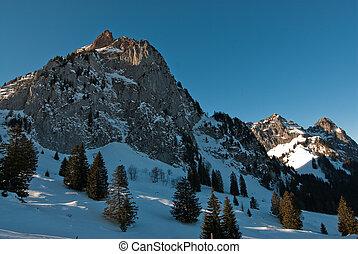 mythen mountain peaks in winter, switzerland