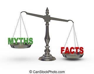 mythen, tatsachen, skala, 3d