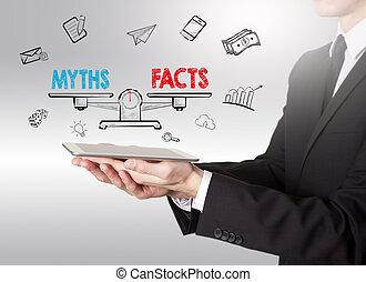 mythes, tablette, vs, jeune, équilibre, informatique, tenue, faits, homme