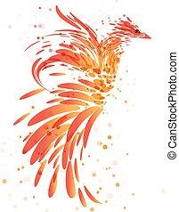 Mythical burning bird on white