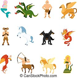 Mythical Creature Images Set - Mythical creatures and...