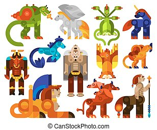Mythical creatures icons set with legendary monster animals...