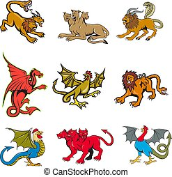 Set or collection of cartoon character mascot style illustration of mythical creatures like the chimera, cerberus, dragon and basilisk on isolated white background.