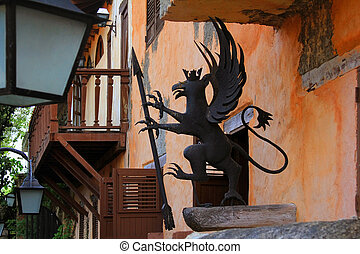 Mythical decoration on the facade of the building
