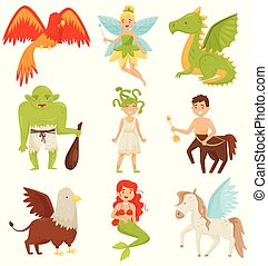 Mythical fairy tale creatures set, Centaur, Pegasus,...