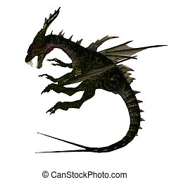 Mythical Fantasy Dragon with Forktail - Giant fantasy dragon...