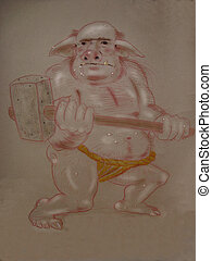 mythical monsterogre, hand drawn illustration