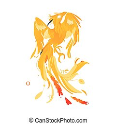 Mythical phoenix bird creature from fairy tales