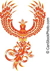 Mythical Phoenix Bird - Stylized firebird, fantasy phoenix...