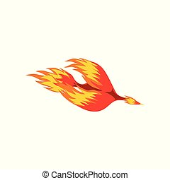 Mythical phoenix fire bird vector Illustration isolated on a...