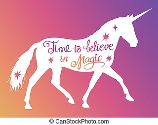 Mythical rebellious unicorn silhouette with positive phrase ...
