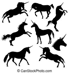 Mythical rebellious unicorn vector black silhouettes. ...