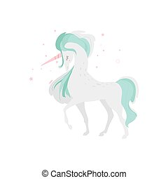 Mythical unicorn character, side view