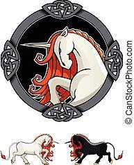 Mythical Unicorn - Stylized Unicorn in ornamental frame,...