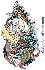 mythological, タツノオトシゴ属, 馬, 海