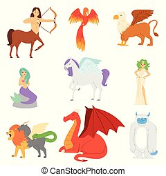 Mythological animal vector mythical creature phoenix or fantasy firebird characters of mythology mermaid snowman and griffin illustration set of cartoon beasts isolated on white background