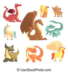 Mythological animals, set for label design. Dragon, unicorn, pegasus, griffin, cartoon detailed Illustrations