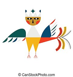 Mythological bird flat color illustration on white