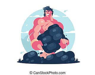 Mythological character of Hercules. Strong muscular guy....