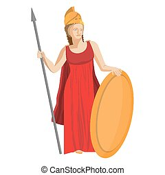 Mythological Greek Athena holding spear and shield in red...