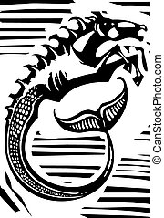 Mythological Hippocampus - Woodcut style image of Greek...