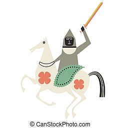 Mythological horseman flat color illustration on white