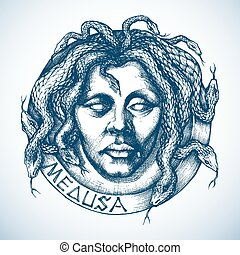 Mythological Medusa portrait with snakes in place of hair...