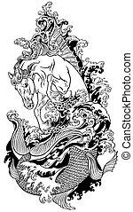 Mythological sea horse hippocampus