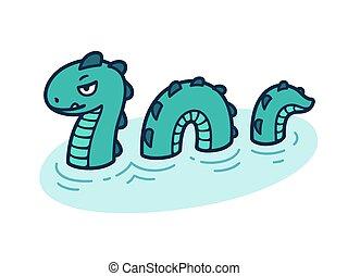 Mythological sea serpent - Sea serpent, mythological snake...