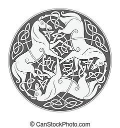 mythologique, celtique, ancien, cheval, symbole