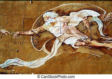 Mythology - A mythological man painted and cracking badly