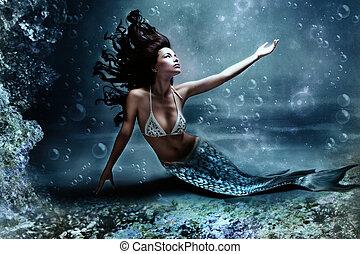 mermaid - mythology being, mermaid in underwater scene, ...